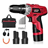 Cordless Drill/Driver Combo Kit with 2 PACKS of 12V Lithium-Ion Battery, 3/8' Keyless Chuck, 2-Speed, 15+1 Position and LED Work Light, 21pcs Accessories Included