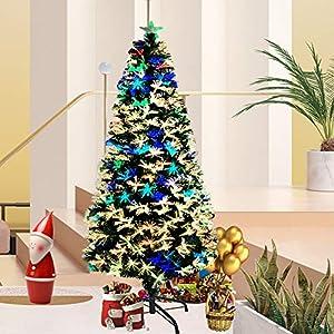Asina Albero di Natale Artificiale Decorazione di Natale in PVC 180cm con 200 Punti e 7 Diversi Luci Multicolori LED Ago di Pino Fibra Ottica Albero Illuminato incl. Supporto 8 spesavip