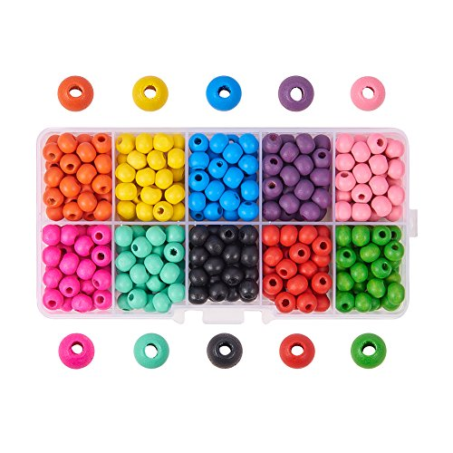 7mm Wood Round Beads - Pandahall Elite 1 Box (About 380pcs) 7mm Dyed Environmental Round Wood Beads 10 Colors with Box for DIY Crafting Jewelry making