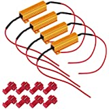 TABEN 4pcs 50W 6-ohm Load Resistors for LED Turn Signal Lights or LED License Plate Lights or DRL (Fix Hyper Flash & Warning Cancellor) with 8pcs Quick Wire Clips
