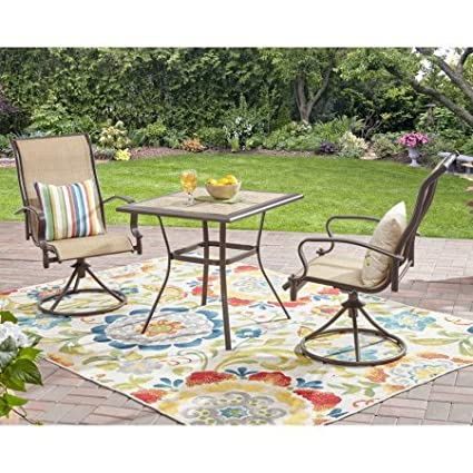 Awesome Amazon Com 3 Piece Bistro Set With Swivel Chairs Includes Ibusinesslaw Wood Chair Design Ideas Ibusinesslaworg