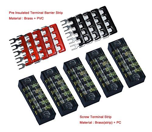 5 Pcs Dual Row 5 Position Screw Terminal Strip 600V 15A + 400V 15A 5 Postions Pre Insulated Terminal Barrier Strip Red /Black 10 (5 Screw Terminals)