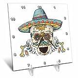 3dRose Sven Herkenrath Celebration - Cinco De Mayo Celebration Party Skull Head Mexican - 6x6 Desk Clock (dc_280345_1)