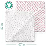 Muslin-Swaddle-Blankets-Organic-Bamboo-Set-of-2-Baby-Blanket-Large-Nursery-Swaddle-Wrap-in-Pink-Hearts-and-Chevrons-Receiving-Blankets-for-Newborn-Girl