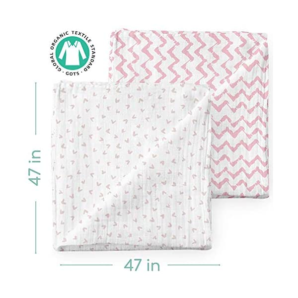 Muslin Swaddle Blankets – Organic Bamboo Set of 2 Baby Blanket – Large Nursery Swaddle Wrap in Pink Hearts and Chevrons – Receiving Blankets for Newborn Girl