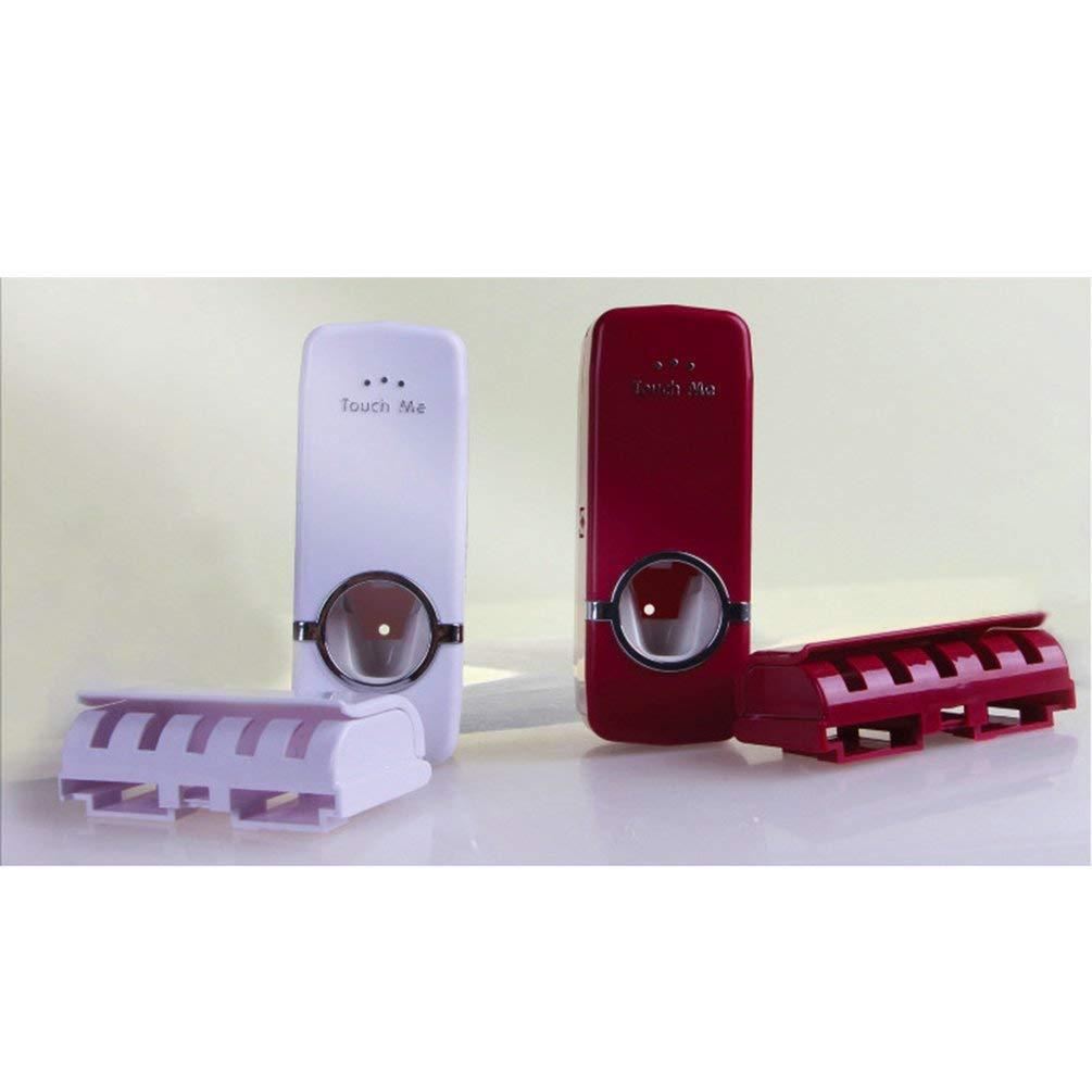 TAOHOU Porta spazzolino ABS fissato al Muro con Dispenser dentifricio Automatico Bianco