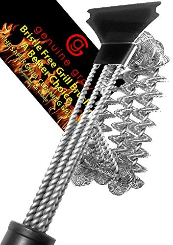 Grill Brush and Scraper Bristle Free Bbq Barbecue Grill Cleaner Commercial Stainless Steel Safer Choice No Bristles in Your Food