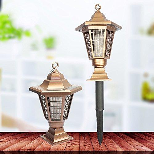 Zehui Solar Power Zapper Enhanced Outdoor Mosquitoes/Moths/Flies Insect Killer Hang or Stake in the Ground Cordless Garden Light 0.2w