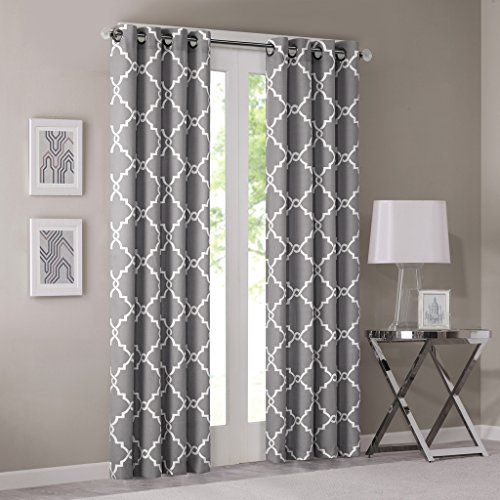 Saratoga Fretwork Print Window Curtain Grey 95″ Panel