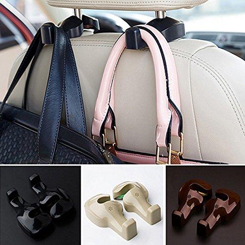 Spotest Car Hooks headrest Hangers, Unique Bargains Pair Gray Plastic Car Seat Headest Hanger Bags Oranizer Hook Holder Hang Purse or Grocery Bags (Black)