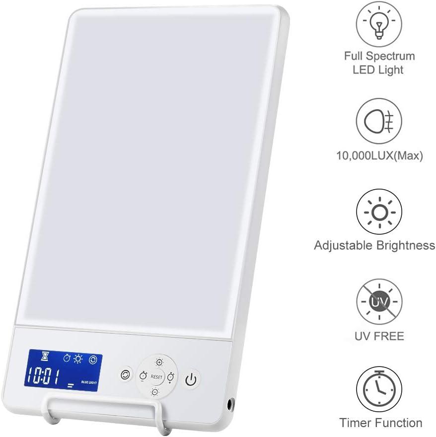 Lámpara de fototerapia SAD, lámpara 10000 Lux con 2 modos de brillo, control de botón y orientación ajustable lámpara terapia de luz SAD sin UV para SAD/depresión/trastorno del sueño/desfase horario