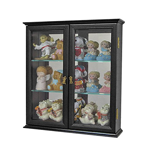 Black Finish Wall Curio Cabinet Display Case Shadow Box Home Accents For Figurines