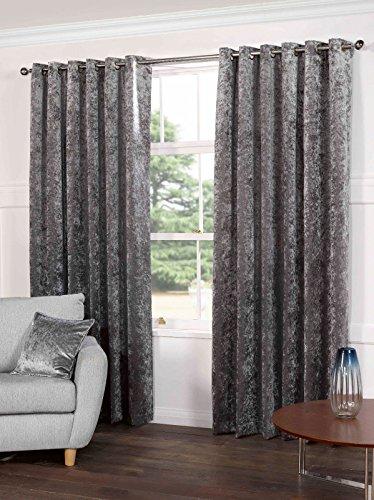 Kensington Luxury Crushed Velvet Lined Curtains Panels Wi...
