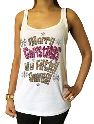 Maglia del Maglione Buon Natale Ya Filthy Animal Glitter Effetto Stampa Novità JTKX15-12