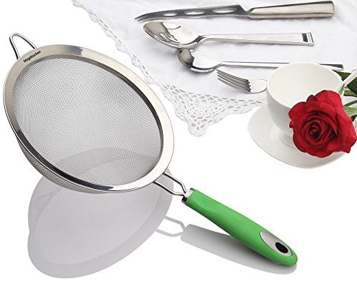 Colander Sieve (MagiKüchen 8-Inch Colander Fine Mesh Stainless Steel Sieve Strainer with Heat-Resistant Handle (Refreshing Green))