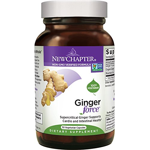 New Chapter Ginger Supplement - Ginger Force with Supercritical Organic Ginger + Non-GMO Ingredients - 30 ct Vegetarian Capsules