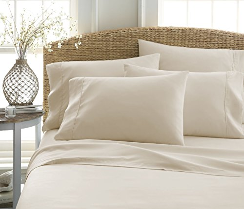 6-Piece Bed Sheet Set by ienjoy Home Collection - 100% Ultra-Soft Microfiber bedding - Deep Pockets for Oversized Mattresses - Wrinkle Free - Queen, Cream