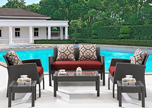Hanover Chelsea 6-Piece Patio Set Crimson Red CHEL-6PC-RED