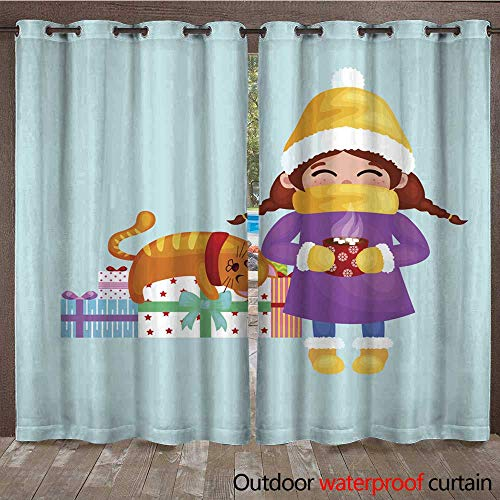 RenteriaDecor Outdoor Ultraviolet Protective Curtains Hand Drawn Beautiful Cute Girl with Cup of Coffee in W108 x ()