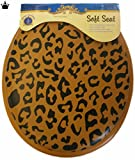 Leopard Print Standard Round Soft Padded Toilet Seat Black & Brown