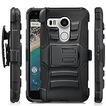 Nexus 5X Case, Fosmon STURDY [Heavy Duty] [Shock Proof] [Locking Swivel Belt Clip] [Kickstand] Shell Hybrid Holster Phone Cover for Google Nexus 5X (Black)