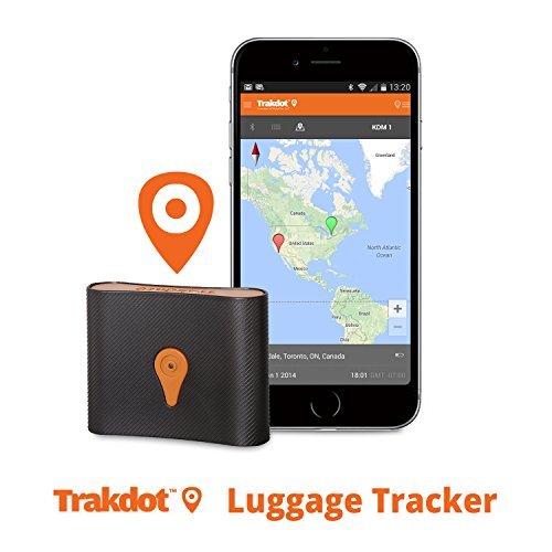 Trakdot Luggage Tracker, Flight Baggage Tracer, Anti lost Palm size Locator, Airline Trip Worldwide Travel Tracking Monitor Detector Finder, GSM Chip (Cell Towers), SMS Alert, iOS & Android Compatible