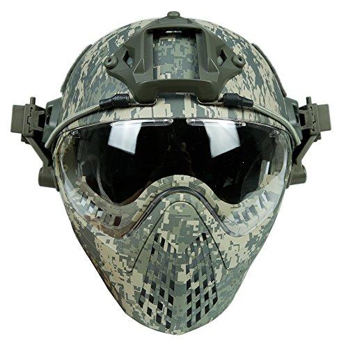 DECHO-C Casque Rapide d'Airsoft avec Le Masque de Masque pour l'armée Militaire WarGame Moto Faisant du vélo la Chasse 1