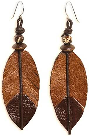 NOVICA Wood Sterling Silver Nature Dangle Earrings From Thailand 'Indian Feather'