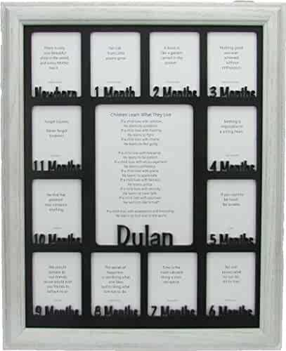 Customizable with Any Name Dark Gray Frame Holds Twelve 2.5 x 3.5 Newborn Photos and 5 x 7 One Year Picture Light Gray Insert Northland Baby First Year Personalized Frame