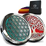 "Car Essential Oil Diffuser - 1.5"" Magnetic Locket Set with Air Vent Clip - Best for Aromatherapy - Fragrance Air Freshener, Scents Diffusers - Jewelry for Car, Flower of Life + Tree of Life (2 Pack)"