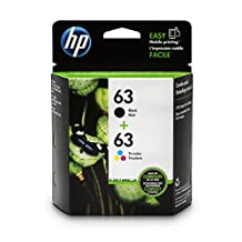 HP 63 Black & Tri-Color Original Ink Cartridges, 2 Pack For HP DeskJet 1112, 2130, 2132, 3630, 3631, 3632, 3633, 3634, 3636, 3637, HP ENVY 4511, 4512, 4516, 4520, 4521, 4522, 4524, HP OfficeJet 3830, 3831, 3832, 3833, 4650, 4652, 4654, 4655 - L0R46AN#140