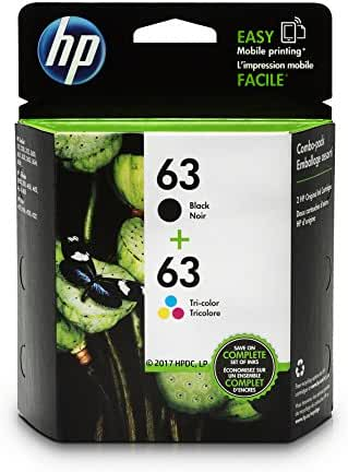 HP 63 Black & Tri-color Original Ink Cartridges, 2 Cartridges (L0R46AN)