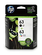 HP 63 Black & Tri-color Original Ink Cartridges, 2 Cartridges (L0R46AN)