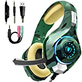 Gaming Headset for PS4 Xbox One PC, Beexcellent Stereo Sound PS4 Headset with Noise Isolation Mic, Memory Foam Earmuff and LED Light, Over-Ear Headphones for Mac Laptop-Camo