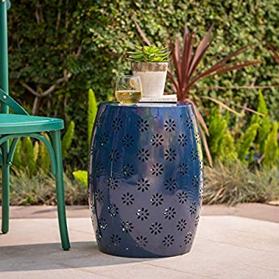 """Christopher Knight Home Riley Outdoor 12"""" Dark Blue Iron Side Table"""