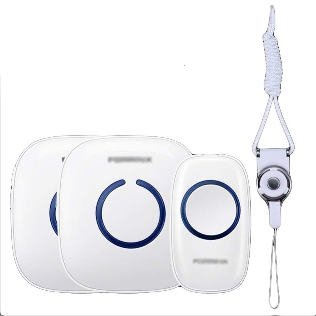 volumen de 4 niveles para pacientes ancianos de enfermer/ía,White-1 Transmitters 1 Receiver Bot/ón de llamada para ancianos bot/ón de llamada de emergencia para el hogar inal/ámbrico 52 campanadas