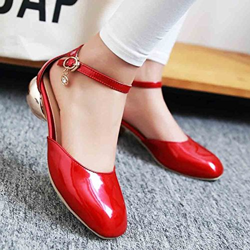 Jane Block Patent Heels Women's Charms Low Buckle Strap Red Mary Square Sandals Aisun Toe BxpYaqvww