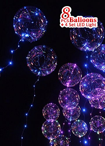 Clear LED light balloon | BoBo Balloon with Color/RGB LED string lights for Parties, Decorations and Holidays| Total 8 balloons + 4 pcs 3 meters string light. -