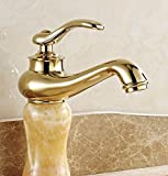 AWXJX European Style Hot And Cold Wash Basin Jade Gold Copper Sink Taps