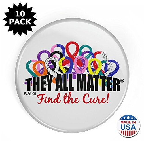 - Fight Like a Girl They All Matter Round Buttons/Pins/Badges To Support all Cancers, 10-Pack (White)
