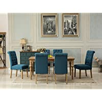 Roundhill Furniture T161-C161BU-C161BU-C161BU Habitanian Dining Collection Solid Wood Table with 6 Button Tufted Chairs, Blue