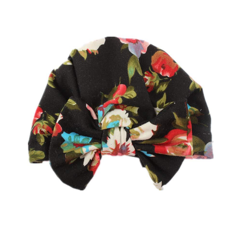 Bebe Fille Bonnet Nœud Turban Floral Motif Bonnet Chaud Hiver Bébés 3 Mois - 6 Ans (A) Ouneed