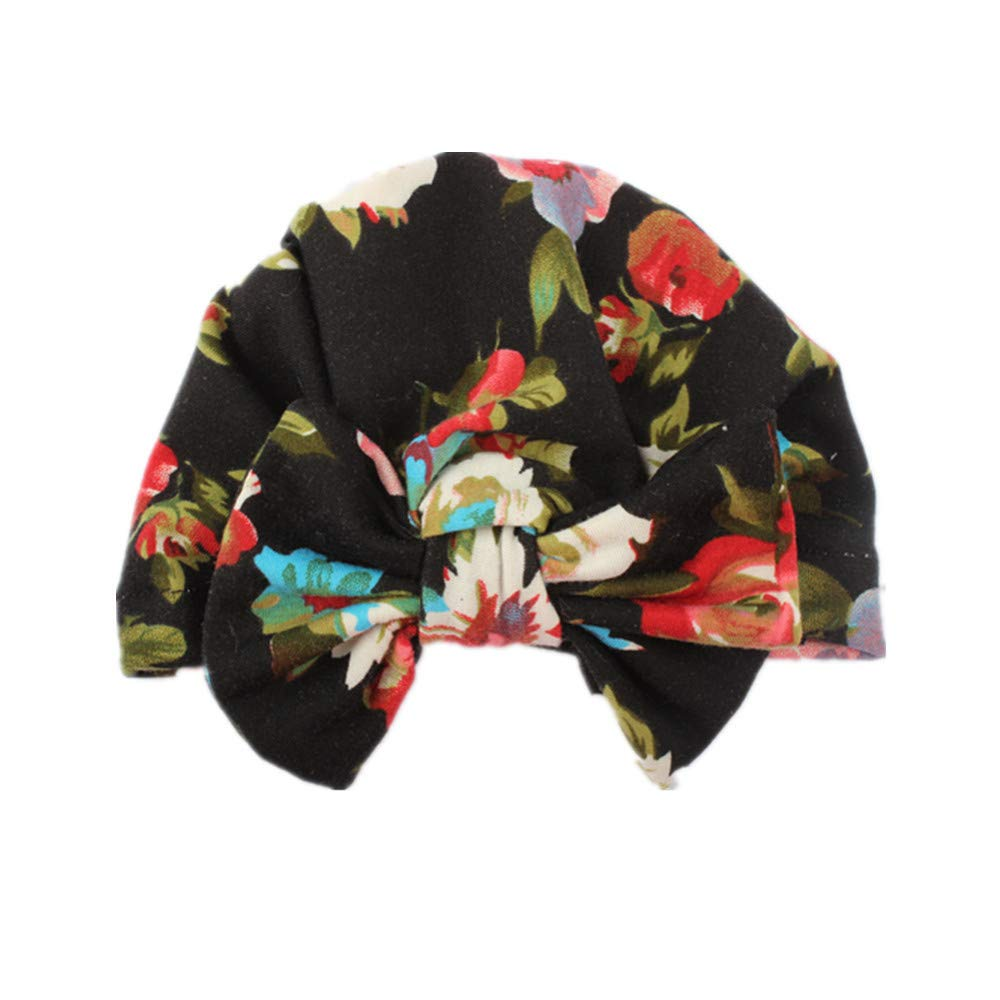 Sunenjoy Bébé Bandeau Fille Bonnet Turban en Coton Bande de Cheveux élastique Bohême Coiffe Bowknot Hiver Chaud Casquette