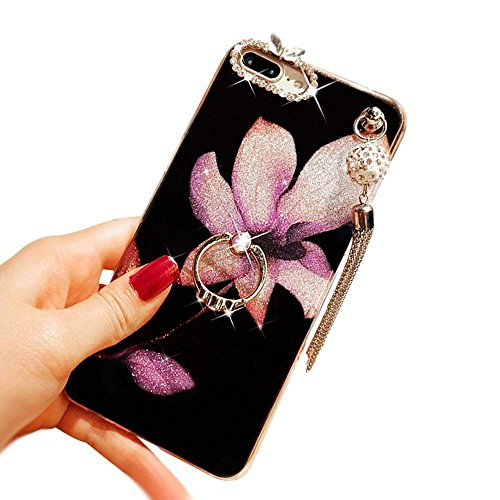 iPhone 6 Crystal TPU Case,Inspirationc Diamond iPhone 6S Case Bling Glitter Rhinestone Soft Silicone Rubber Bumper Case with 360 Ring Stand Holder for iPhone 6/6S--Pendant Lily