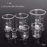 7Pcs Borosilicate Glass Beaker Container Volumetric Glassware For Laboratory