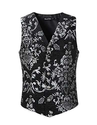 - DarcChic Mens Tapestry Lapel Vest Waistcoat Gothic Aristocrat Steampunk Victorian (M, Silver)