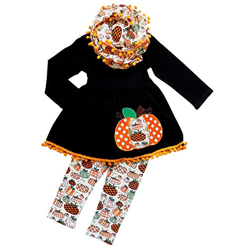 So Sydney Toddler Girls 3 Pc Halloween Fall Tunic Top Leggings Outfit, Infinity Scarf (S (3T), Fall Pumpkin Patch)