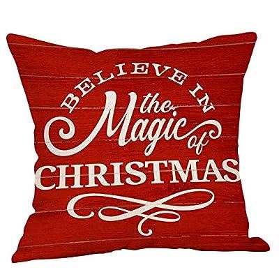 NUWFOR Happy Christmas Pillow Cases Linen Sofa Cushion Cover Home Decor Pillow Case White