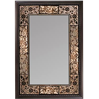 Head West French Tile Mirror, 27-inch by 36-inch - Screen printed scrolled border in earth toned hues Framed in a complimentary dark traditional frame Handcrafted in the usa - bathroom-mirrors, bathroom-accessories, bathroom - 51kRF1KvudL. SS400  -