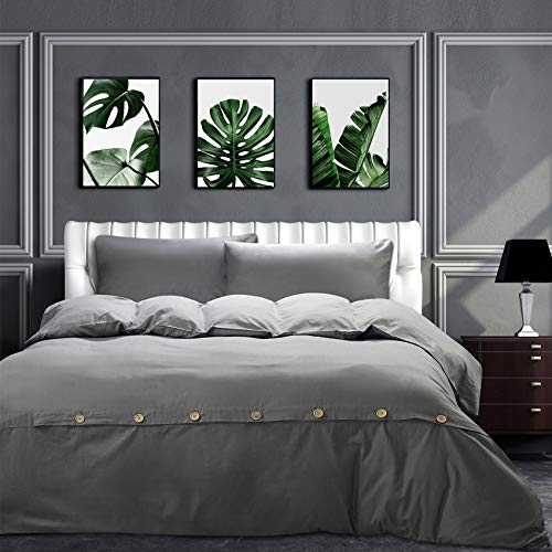 MoMA Grey Cotton Full Size Duvet Cover Set 3 Pieces Button Closure Reversible Oversized Soft Comforter, Gray Solid Color Lightweight Bedding Sets